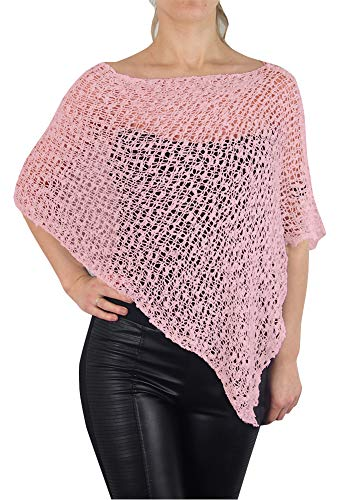 MIMOSA Ladies Popcorn Crochet Stretch Lace Fish Net Batwing Small Poncho (One Size, Baby Pink)