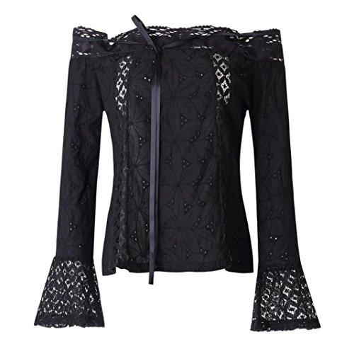 16b0d6f735d8b9 Off Shoulder Tops HGWXX7 Women Slash neck Puff Long Sleeve Lace Loose Blouse  Tops T-