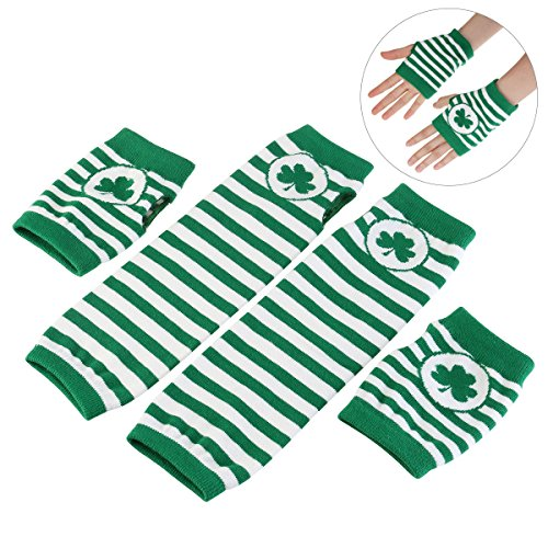 BESTOMZ St. Patrick's Day Gloves Shamrock Fingerless Arm Warmers Unisex - 2 Pair