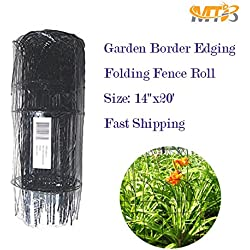 "MTB Black Garden Border Edging Folding Fence Roll 14""x20' Scroll Top Rolled Fencing"