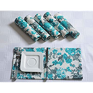 Floral Cotton Dinner Napkins - 20  x 20  - Set of 4 Premium Table Linens for the Dining Room - Turquoise, Gray and White Rose