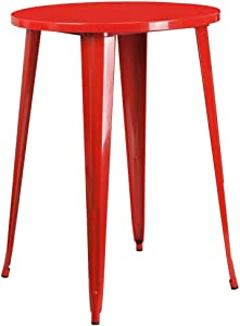 """Flash Furniture Commercial Grade 30"""" Round Red Metal Indoor-Outdoor Bar Height Table"""