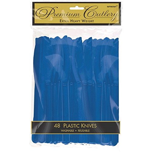 - Premium Heavy Weight Plastic Knives | Navy Blue | Pack of 48 | Party Supply