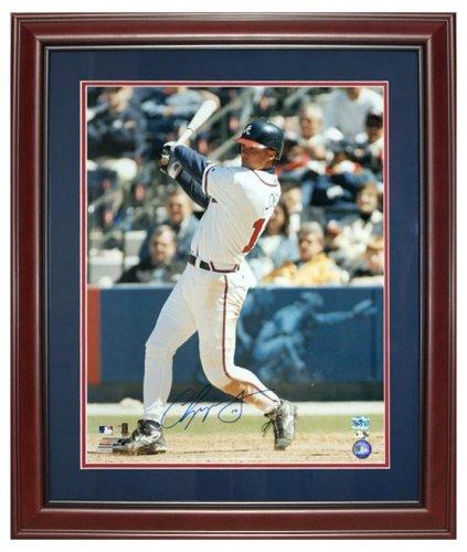 Framed Chipper - Chipper Jones Autographed Atlanta Braves Deluxe Framed 16x20 Photo