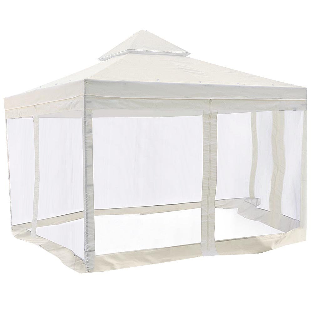 Yescom 10'x10' Gazebo Canopy Replacement 2 Tie UV30+ 200g/sqm Patio Cover Top w/ 78'' Mosquito Net