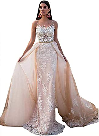 WeddingDazzle Womens Detachable Train Mermaid Wedding Gown 2018 Lace Bride Dress