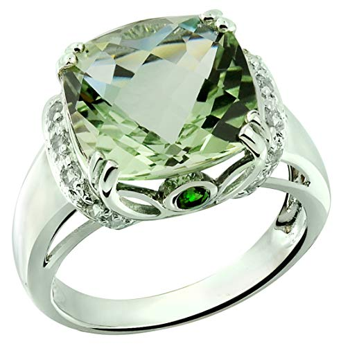 RB Gems Sterling Silver 925 Ring Genuine GEMS 7 Cts, Cushion 12 mm Rhodium-Plated Finish Cocktail Style (6, prasiolite-Quartz) ()
