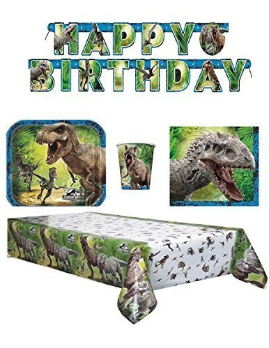The New Jurassic World Party Pack Napkins ,Dessert Plates and Cups, Banner and Table cover by paper