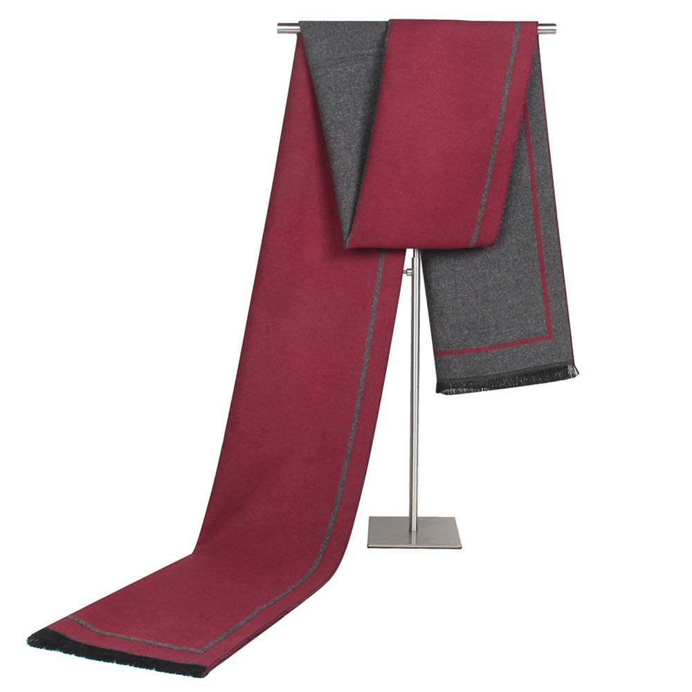 EsTong Men's Brushed Soft Cashmere Shawl Spring Winter Warm Elegant Classic scarf Burgundy