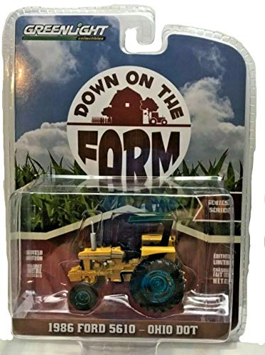 Greenlight Rare Chase Green Machine 48020-D Down on The Farm Series 2 1986 Ford 5610 Tractor Yellow and Blue Ohio Department of Transportation DOT 1:64 Scale ()
