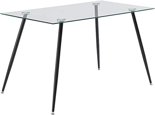 IDS Home Office Furniture Contemporary Computer Desk, 0.31 inch Tempered Transparent Glass Tabletop Writing Table Black Metal Legs Frame