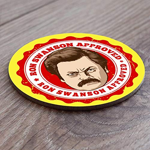 Recreation Set of Four Round by Blind Eye Design Ron Swanson Parks and Rec Coasters Leslie