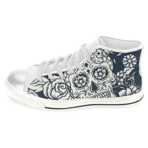 Skull High Top Shoes (InterestPrint Women's High Top Classic Casual Canvas Fashion Shoes Trainers Sneakers Skull with Floral and Flowers Size 10)
