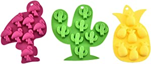 BESTOYARD 4pcs Flamingo Ice Cube Tray, Food- Grade Silicone Mold Cactus Pineapple Mold for Chocolate, Candy, Cookie, Fondant