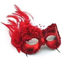 Annette Red Feather and Flower Women's Masquerade Mask