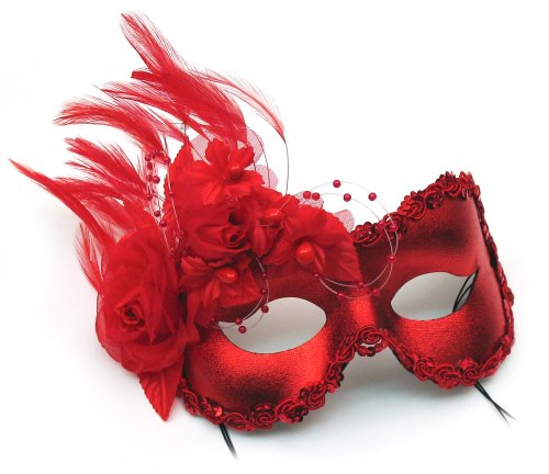 (Success Creations Annette Red Feather and Flower Women's Masquerade Mask)
