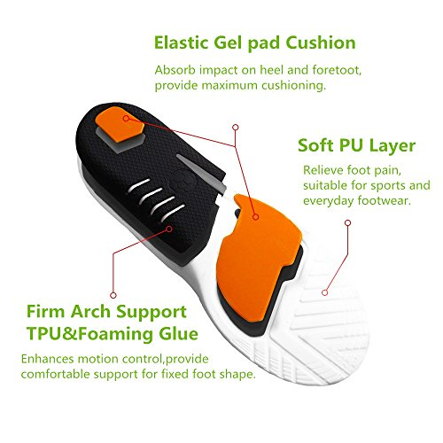 Plantar Fasciitis Inserts, Hallux Rigidus Orthotic Shoes Insoles for Men & Women, Full Length Sports Insoles with Cushioning Arch Support for Plantar Running, Hiking, Foot Pain, Flat Fe(Women 4.5-9.5) by BEITESI (Image #2)