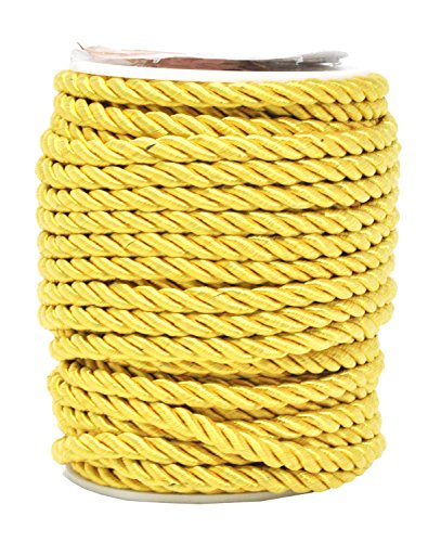 Mandala Crafts Rayon Twisted Cord Trim, Shiny Viscose Cording for Home Décor, Upholstery, Curtain Tieback, Honor Cord (5mm, ()