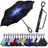 G4Free Double Layer Inverted Umbrella Cars Reverse Umbrellas, Windproof UV Protection Large Straight Umbrella for Car Rain Outdoor with C-Shaped Handle Starry Night (A Starry Sky)