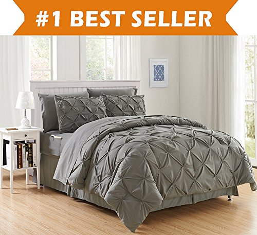Luxury Best, Softest, Coziest 8-PIECE Bed-in-a-Bag Comforter Set on Amazon! Elegant Comfort - Silky Soft Complete Set Includes Bed Sheet Set with Double Sided Storage Pockets, King/Cal King, Gray (Elegant Comforter Sets)