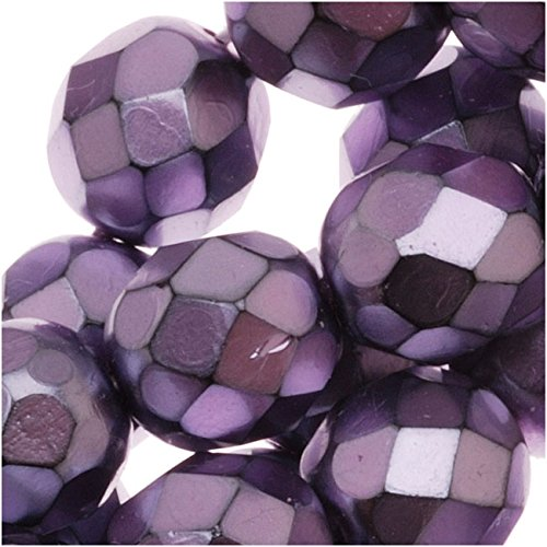 25 8mm Beads Round (Jablonex Czech Fire Polished Glass Beads 8mm Round Full Pearlized - Lilac On Jet (25))