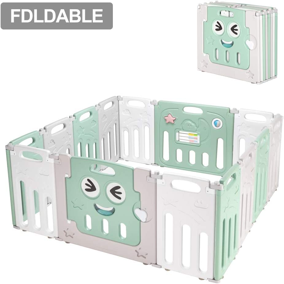 Green/&White/&Gray Fordable Baby 14 Panel Playpen Activity Safety Play Yard Foldable Portable HDPE Indoor Outdoor Playards Fence