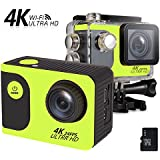 ViiVor 4K Waterproof Sports Action Camera +16G memory card with WiFi 2.0 inch LCD Screen 1050mAh Battery IP65 up to 30 m Bike Helmet Camera Underwater Camera DVR Camcorder (Green)