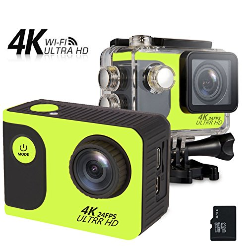 DBPOWER 4K Waterproof Sports Action Camera +16G Memory Card with WiFi 2.0 inch LCD Screen 1050mAh Battery IP65 up to 30 m Bike Helmet Camera Underwater Camera DVR Camcorder (Green)