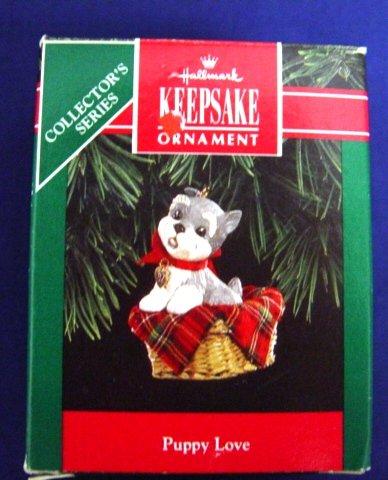 1992 Hallmark Keepsake Schnauzer Puppy Love Christmas Ornament with Box