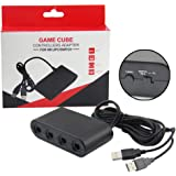 Wii U GameCubeコントローラーアダプター,GameCube NGCコントローラーアダプター(Wii U、Nintendo Switch、PC USB)プラグアンドプレイ不要。ポートブラックGameCubeアダプター(改良版,新しいパッケージング)