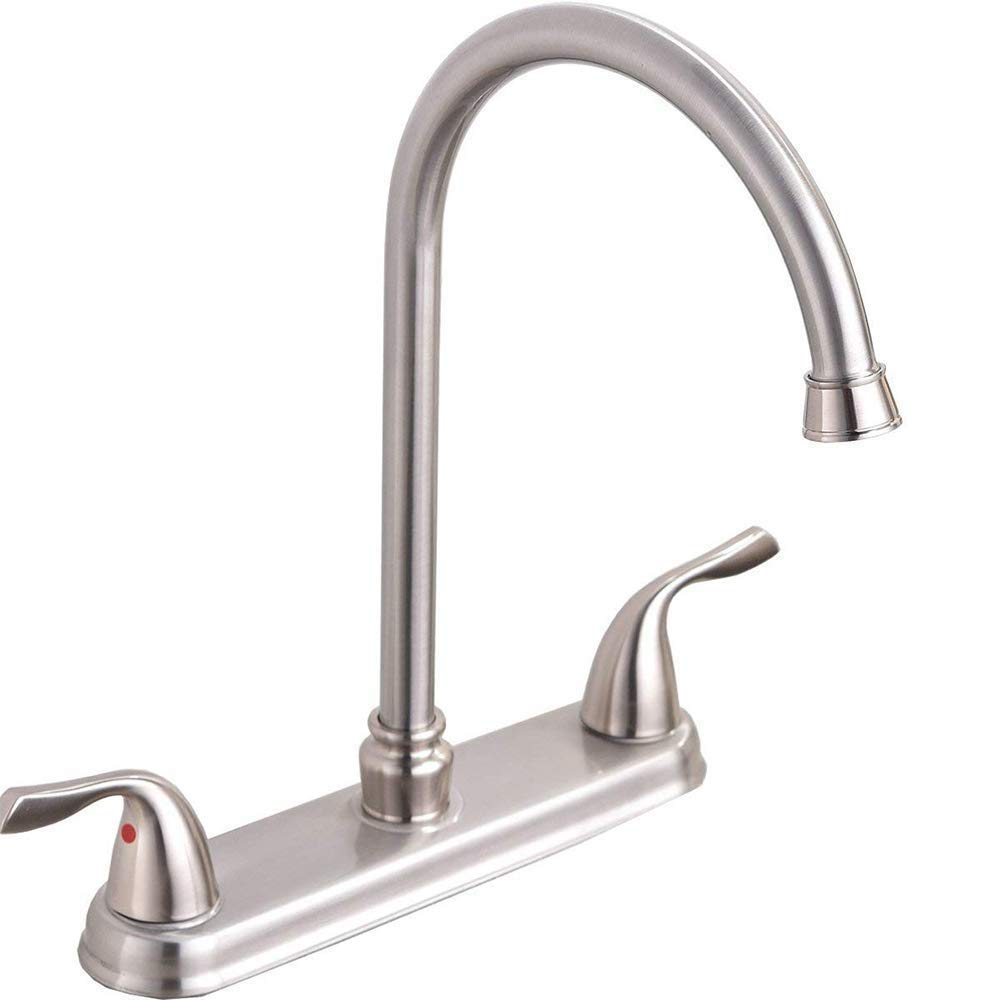 Hotis Commercial Stainless Steel Lead-Free Two Lever Two Hole Gooseneck High Arc Two Handle Kitchen Sink Faucet, Brushed Nickel Kitchen Faucet by HOTIS HOME (Image #1)