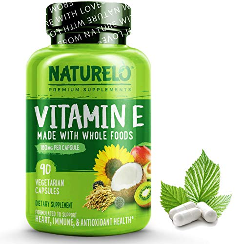 NATURELO Vitamin E – 180 mg (300 IU) of Natural Mixed Tocopherols from Organic Whole Foods – Best Supplement for Healthy Skin, Hair, Nails, Immunity, Eye Health – Non-GMO, Soy free – 90 Vegan Capsules