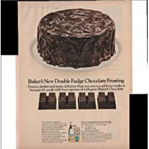 Baker's New Double Fudge Chocolate Frosting 1966 Vintage Antique Advertisement