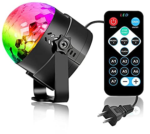 COIDEA Disco Lights Disco Ball Party Lights 3W Dj Light Stage Light 7 Colors Sound Activated Strobe Light Karaoke Machine for Home Kids Birdthday Decoration,Toys,Club,Night Light(with - Party Machine