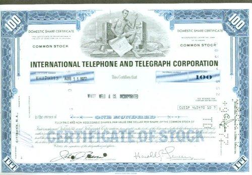(International Telephone & Telegraph stock cert 1977)