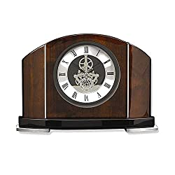 Goldia Rosewood and Chrome Trim Mantel Clock