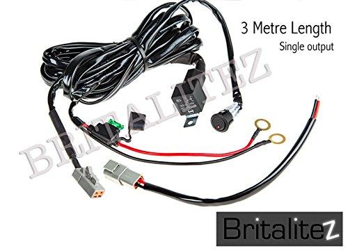 Fog Light Wiring Loom Harness, Deluxe High Quality, Britalitez Loom LED LIGHT BAR SPOT LIGHT (3 Metre Single Harness):