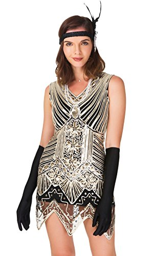 CHILYARD Women's Flapper Dress Vintage 1920s Sequined Tassels Hem Dress Set Black2 2-4