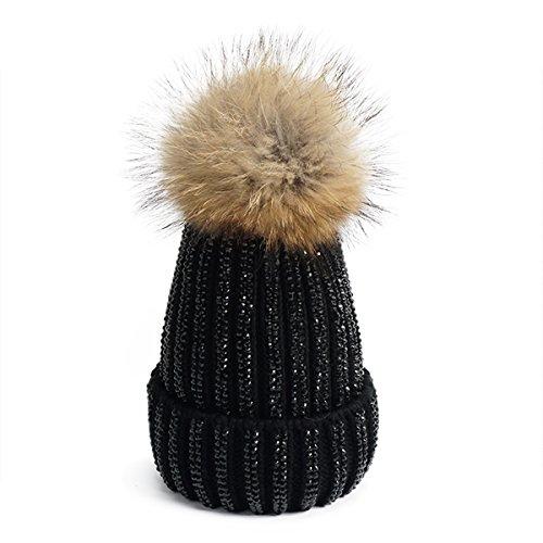 Lawliet Lady Rhinestone Bling Pom Pom Knit Snow Beanie Ski Hat Skull Cap A391 (All Black)