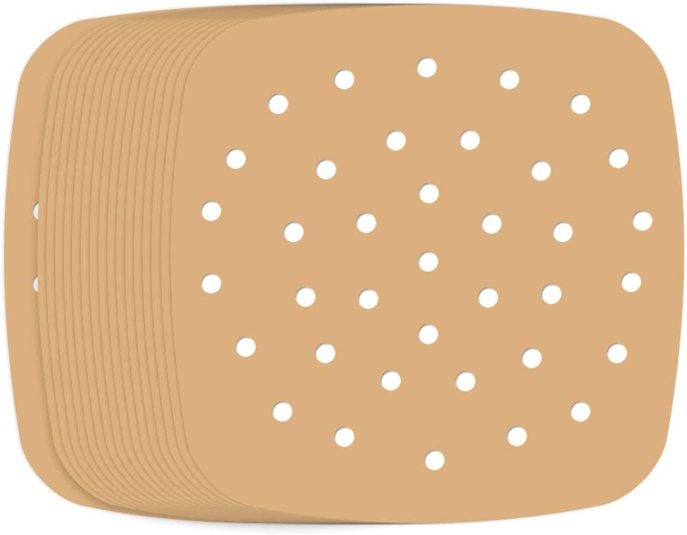 Besego Air Fryer Liners - 7.5 Inches, 100 pcs Perforated Unbleached Parchment Paper Compatible with Philips, Cozyna, Secura, NuWave Brio, Chefman, GoWISE USA, BLACK+DECKER, COSORI and More Air fryers