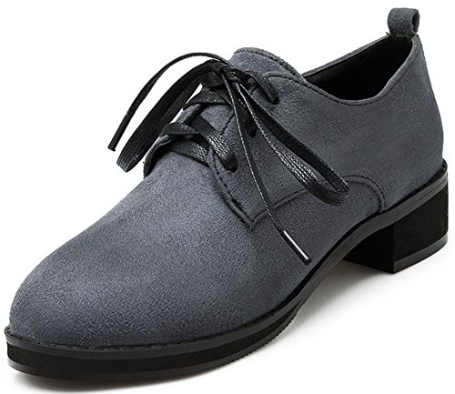 Trendy Tow Gray Summerwhisper Women's Lace Oxfords Low Shoes Round Heel up PqnvOCn5xw