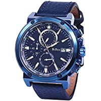 Men Watches Fashion Analogue Quartz Chronograph 3 ATM Waterproof Wrist Watch with Blue Genuine Leather Band
