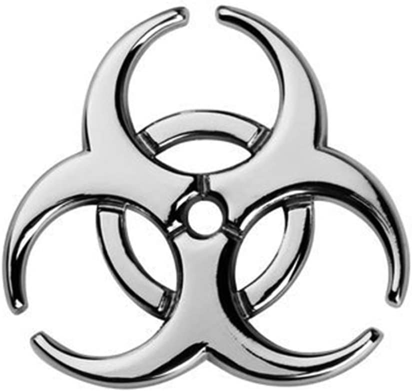 Gray-2.44 2.44 YSpring Resident Evil Strain 3D Metal Decals Multicolor Electroplated Zinc Alloy Umbrella Corporation Biohazard Symbol Tail Side Marker Car Stickers