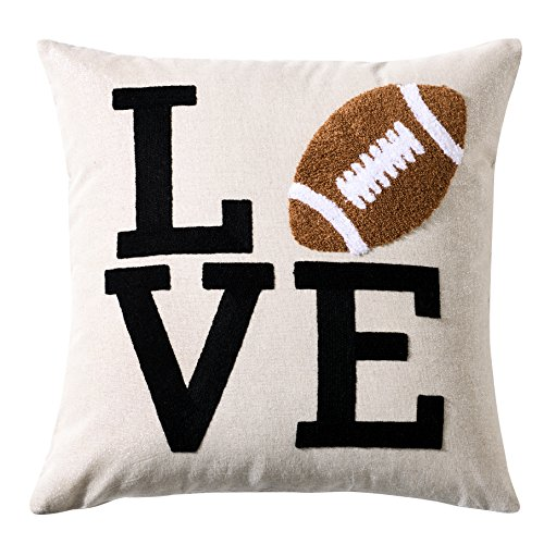 Embroidery Love Sports Series American Football Rugby Decorative Throw Pillow Cover Linen Cushion Cover Boys Girls NFL Gifts Square 18x18 inch