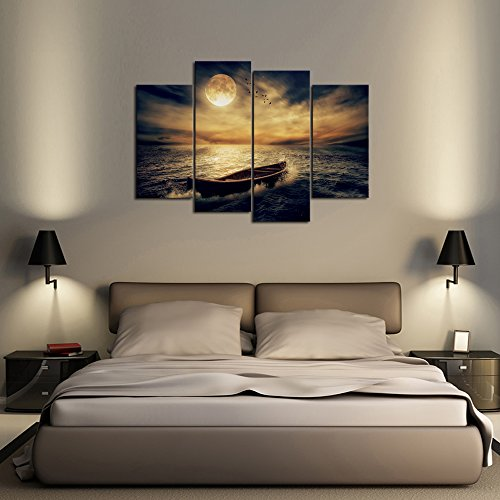 Cao Gen Decor Art-S48638 4 Panels Wall Art Waves Painting on Canvas Stretched and Framed Canvas Paintings Ready to Hang for Home Decorations Wall Decor