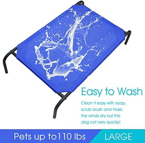 PHYEX Cama elevada portátil con marco de acero resistente para mascotas, cama elevada de refrigeración, 50.5 pulgadas de largo x 30.5 pulgadas de ancho x 7.8 pulgadas de alto (L, azul) 6