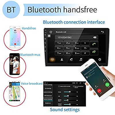 """Double Din Car Radio Stereo MP5 Player, 9"""" 2.5D Curved HD Capacitive Touch Screen Radio Receiver, Support GPS Navigation Bluetooth Rear View Camera&Android iOS Mirror Link Dual USB Input: GPS & Navigation"""