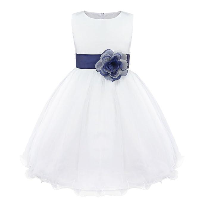 YIZYIF Vestido de Princesa Blanco Flor sin Mangas Vestido Plisado Elegantes Fiesta Cumpleaños Boda Para Niñas