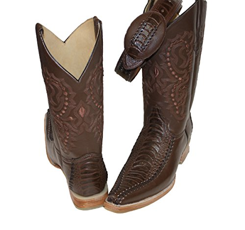 Dona Michi Mens Western Cowboy Leather Color Combination Crocodile Print Boots/Free Belt_BRN_BRN_8.5