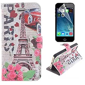 LIMME Eiffel Tower and The Rose Pattern PU Leather Full Body Cover with Stand and Protective Film for iPhone 5/5S